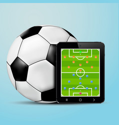 Tablet with soccer team formation screen and vector