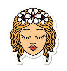 Tattoo style sticker a maidens face vector