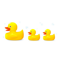 Three toys rubber ducks vector
