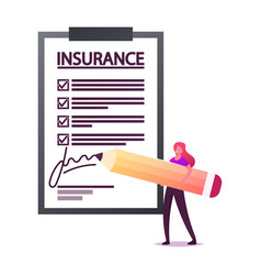 Tiny female character signing huge insurance vector