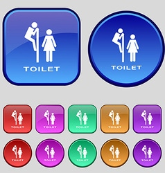 toilet icon sign A set of twelve vintage buttons vector image