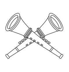 Trumpet musical instruments in black and white vector