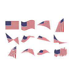United states flag collection set graphic design vector