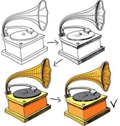 Vintage gramophone sketching progress vector