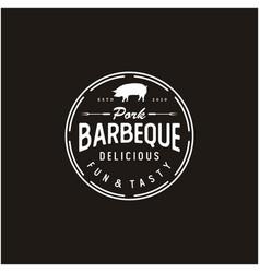 Vintage retro grill barbecue with pork label logo vector