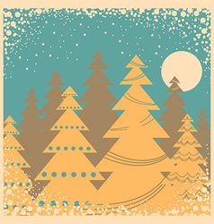 Vintage winter card with snow frame vector image