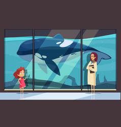 Visit dolphinarium museum composition vector