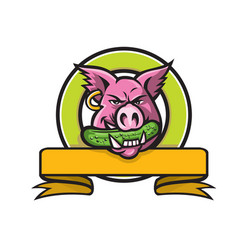 Wild boar biting gherkin circle mascot vector