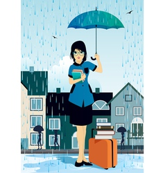 Woman holding an umbrella vector image