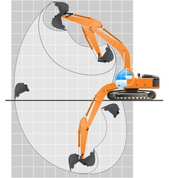 Working range of an excavator vector