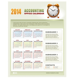 2014 Accounting Office Calendar vector image vector image