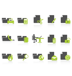 folder and document icons green series vector image