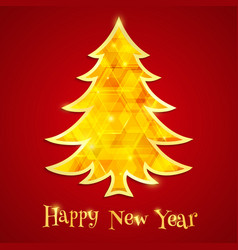 golden and glowing christmas tree isolated on the vector image
