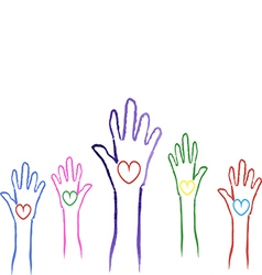 hands with hearts drawn up voting for the soul of vector image