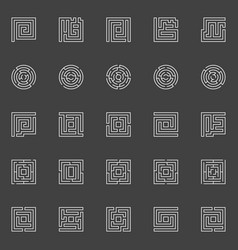 Labyrinth linear icons vector