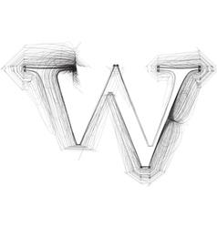 Sketch font Letter w vector image vector image