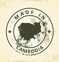 Stamp with map of cambodia vector