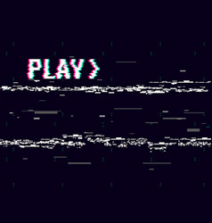 vhs glitch play effect background retro playback vector image vector image