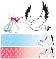 banners with stork delivering baby vector image