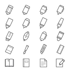 Drawing and Writing Painting Tools Icons vector image