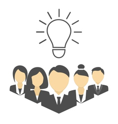 Flat portraits of staff with idea lamp isolated on vector image