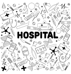 Hospital line art design vector image