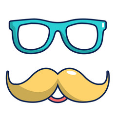 nerd glasses and mustaches icon cartoon style vector image
