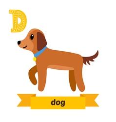 Dog D letter Cute children animal alphabet in vector image