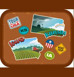 iowa and kansas travel stickers vector image