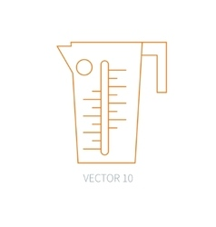 Line flat kitchenware icons - beaker vector image vector image