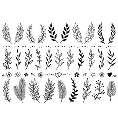 Set of hand draw tree branches and flowers vector