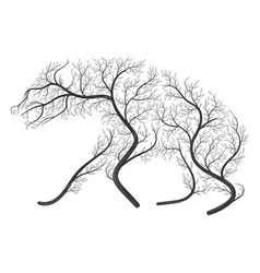 silhouette of a hyena stylized by bushes on a vector image