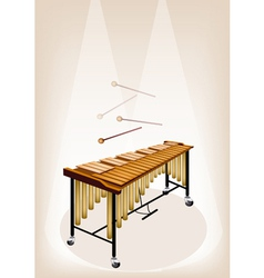 Two Retro Vibraphone on Brown Stage Background vector image vector image