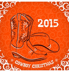 Western New Year with cowboy boots and western hat vector image vector image