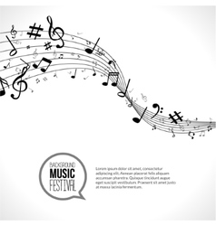 abstract Music notes and lines On white vector image vector image