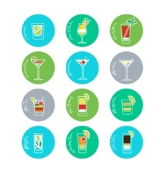 Colorful drinks icons set vector image