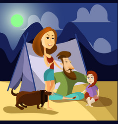 family camping concept poster cartoon vector image