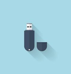Flat web icon Usb memory drive vector image