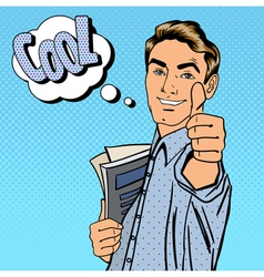 Happy Student Man Gesturing Great with Books vector image vector image