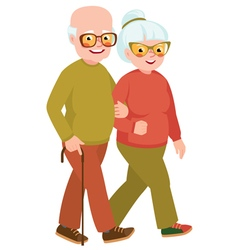 Married senior couple on a walk vector image vector image