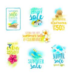 set of season sale summer holidays designs vector image vector image