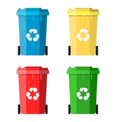 Set Recycle Bins for Trash and Garbage vector image