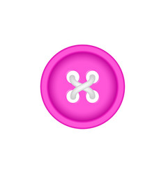 Sewing button in pink design with sewing thread vector