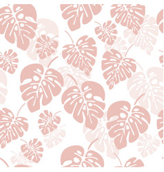 summer seamless pattern with pink monstera vector image vector image