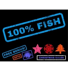 100 Percent Fish Rubber Stamp vector image