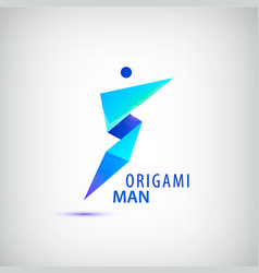 Abstract origami man logo leader winner vector