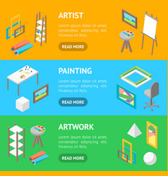 artist workplace interior with furniture banner vector image
