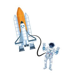Astronaut flies with space shuttle icon vector