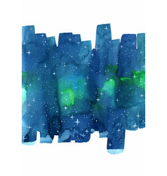 Aurora night sky and star watercolor vector