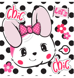 beautiful rabbit girl wearing pink bow headband vector image
